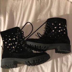 Madden Girl Pearl Crystal Stud Velvet Combat Boots